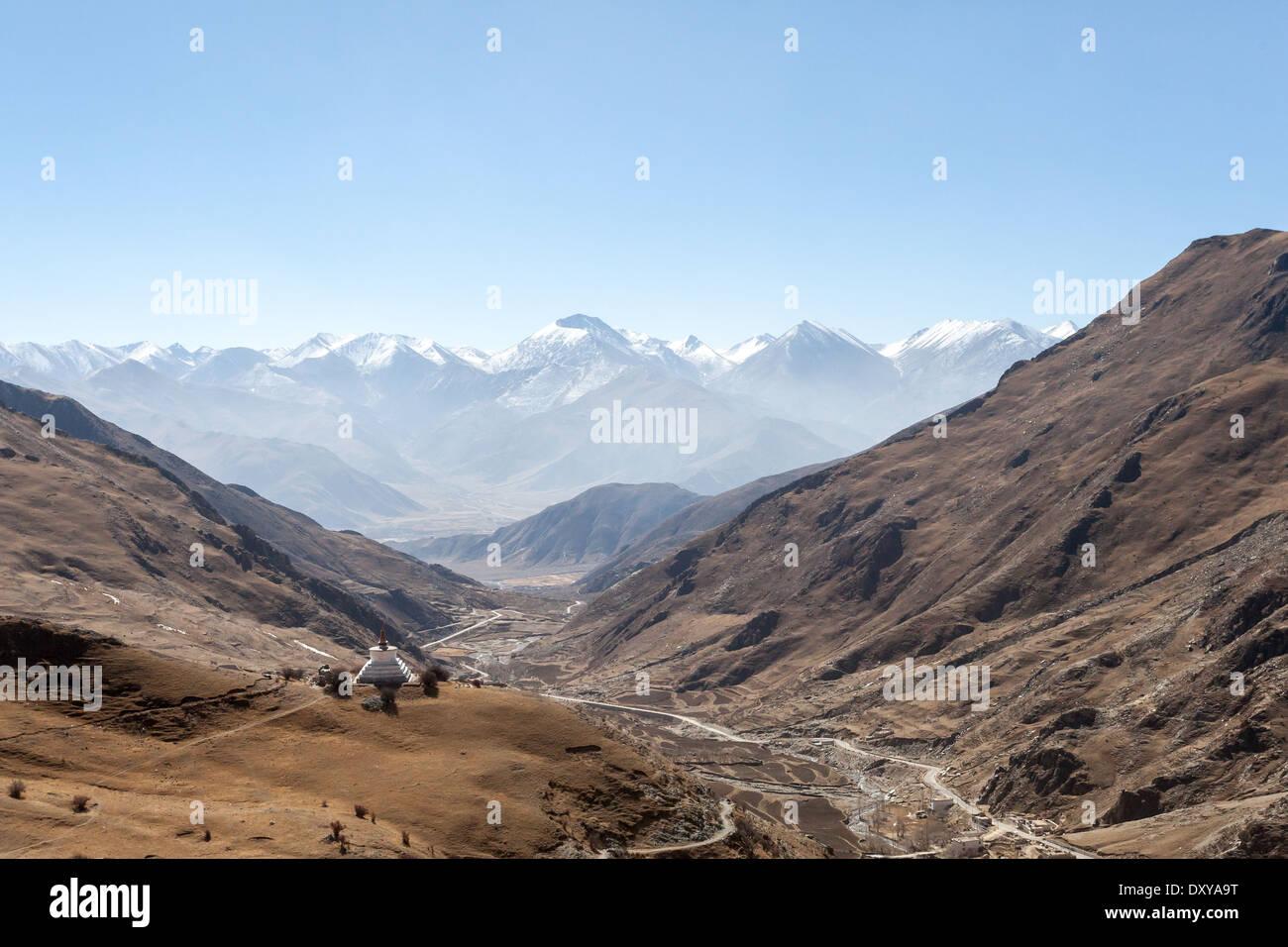 View from Drak Yerpa, Tibet - Stock Image