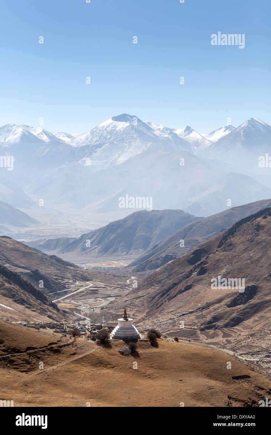 View from Drak Yerpa in Tibet - Stock Image