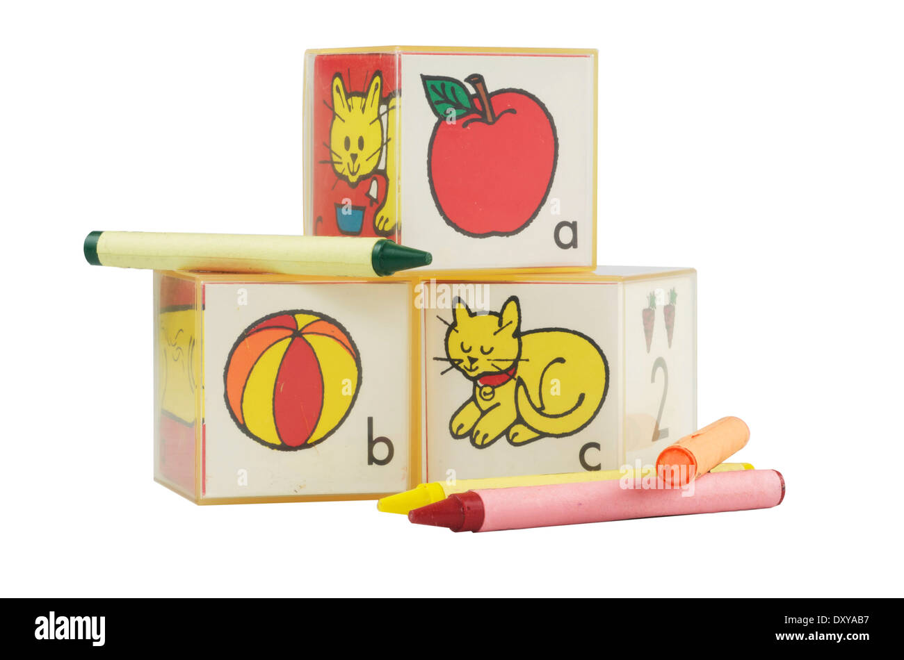 Preschool plastic learning blocks,ABC's with crayons. - Stock Image