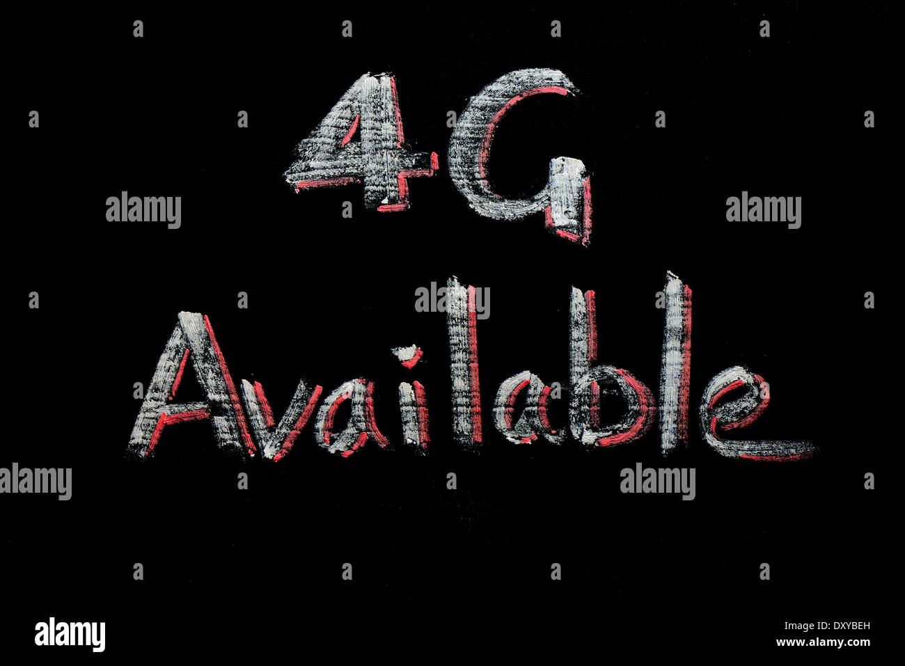 4G Available written on a blackboard - Stock Image