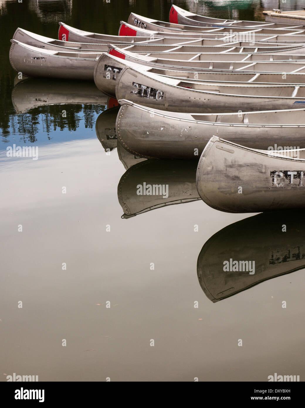 Canoes at Colter Bay Marina on Jackson Lake in Grand Teton National Park. Stock Photo