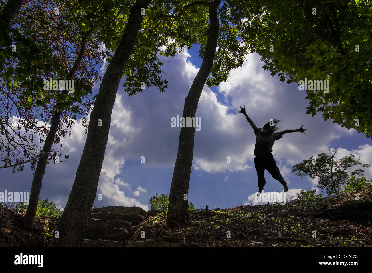 Jumping For Joy Natural Freedom - Stock Image