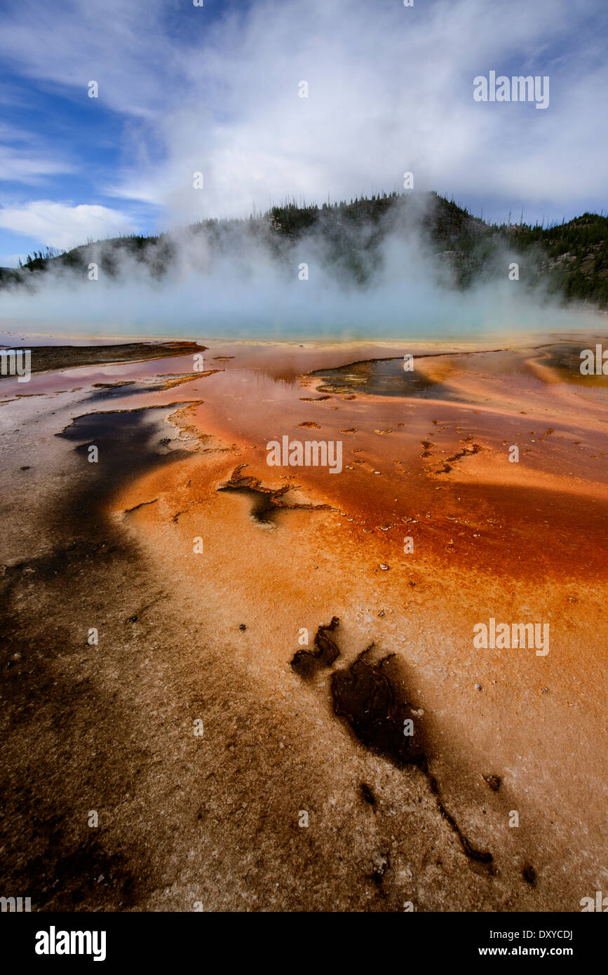 Orange microbial mat at Grand Prismatic Spring, part of the Midway Geyser Basin in Yellowstone National Park. - Stock Image