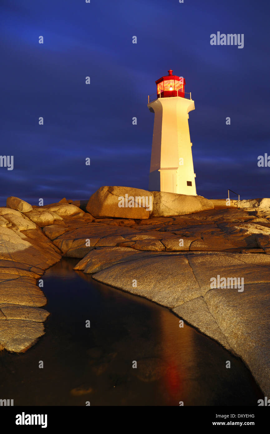 A light-painting and reflection of Peggy's Cove lighthouse