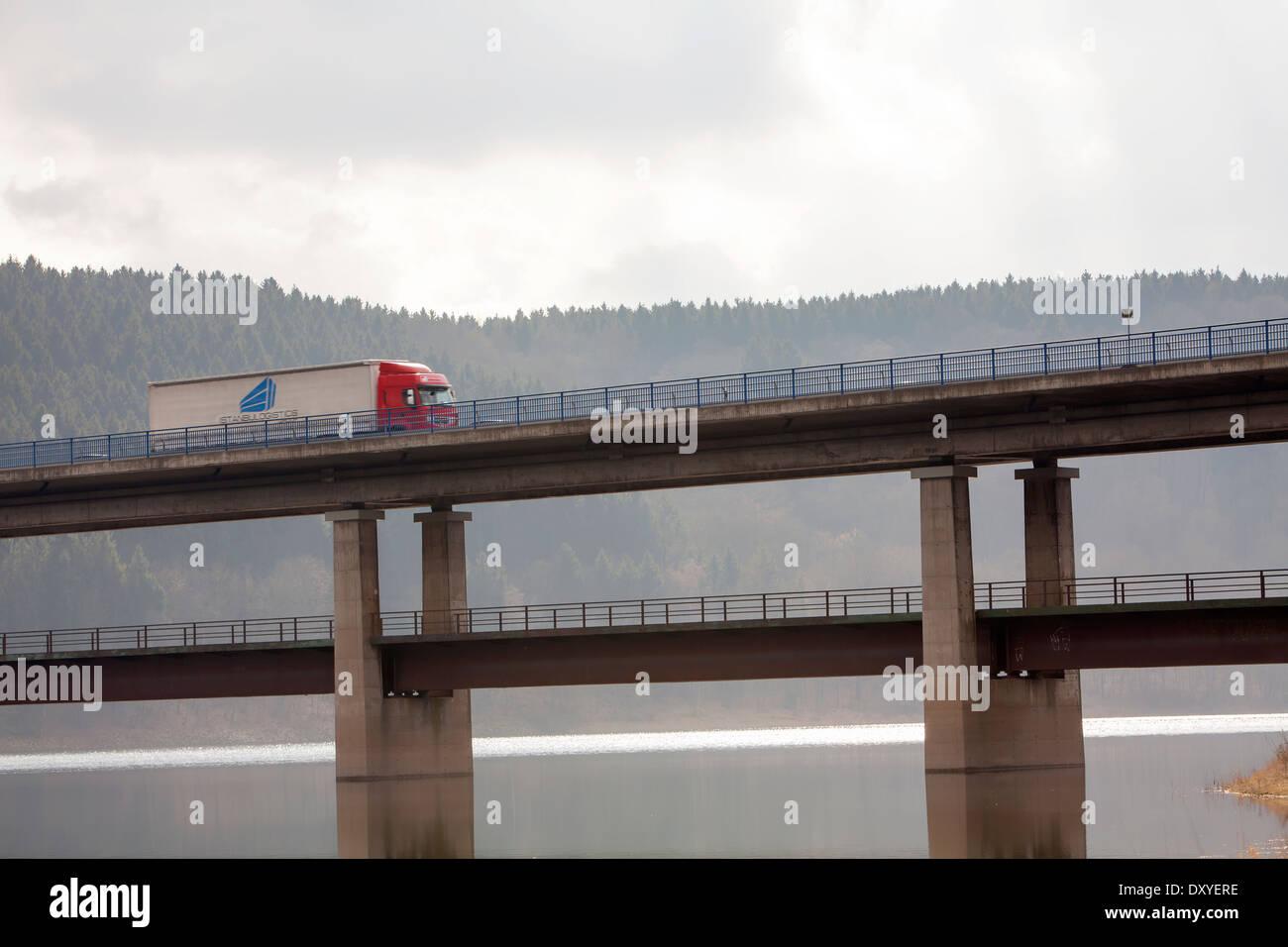 Bridge over the Biggetalsperre reservoir, Attendorn, Germany, Europe - Stock Image
