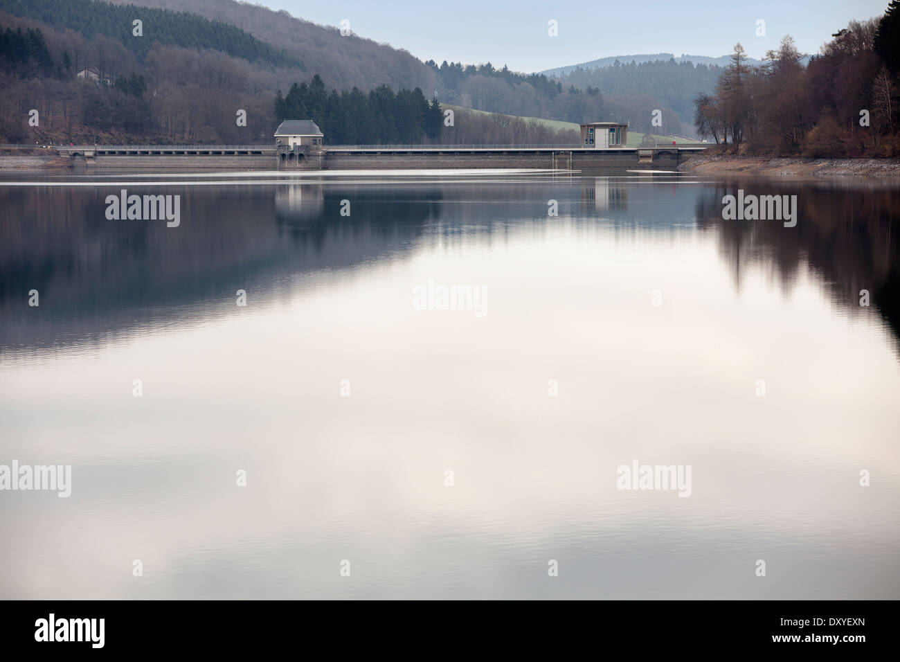 Dam of the Lister Reservoir, Attendorn, Germany, Europe, Stock Photo