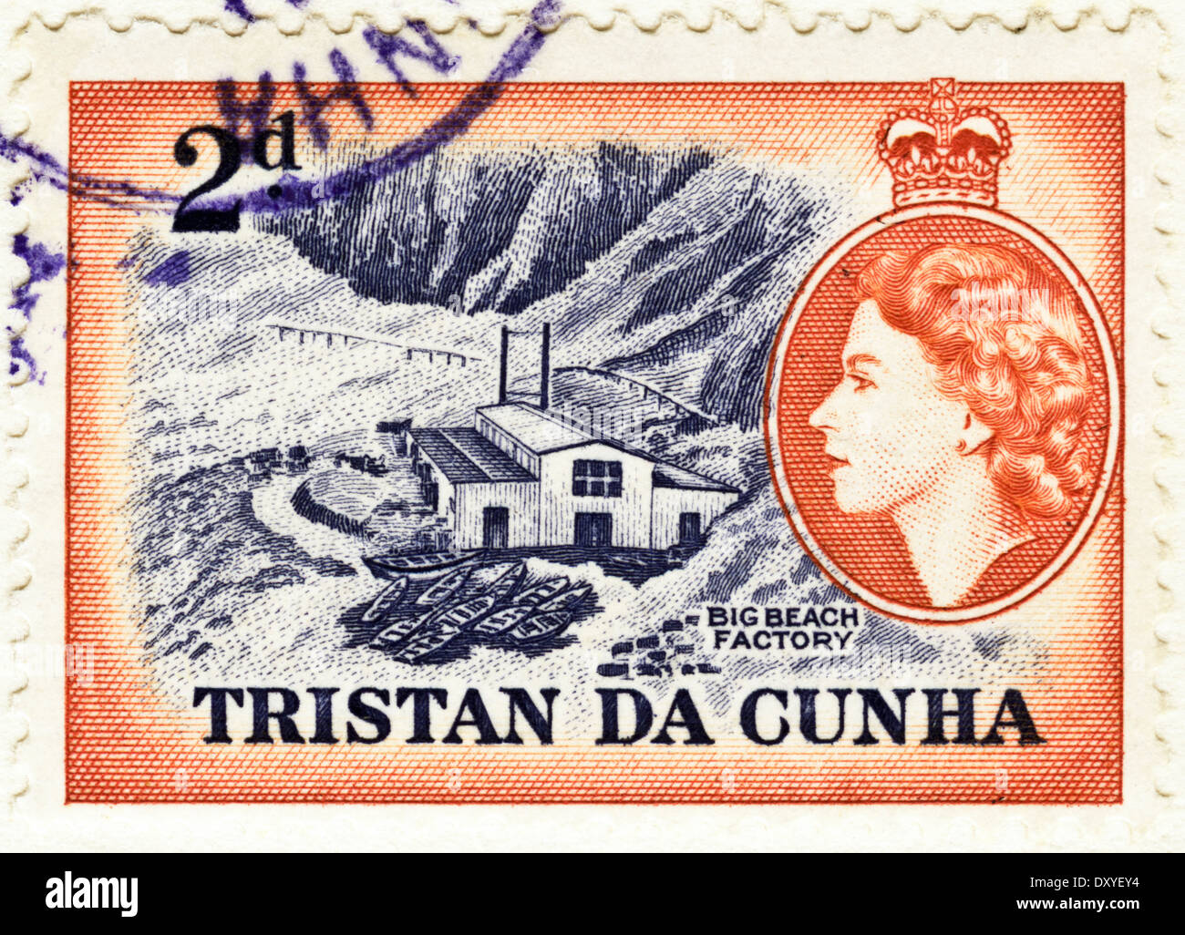 postage stamp 2d Tristan Da Cunha with Queen Elizabeth II featuring Big Beach Factory circa 1956 - Stock Image