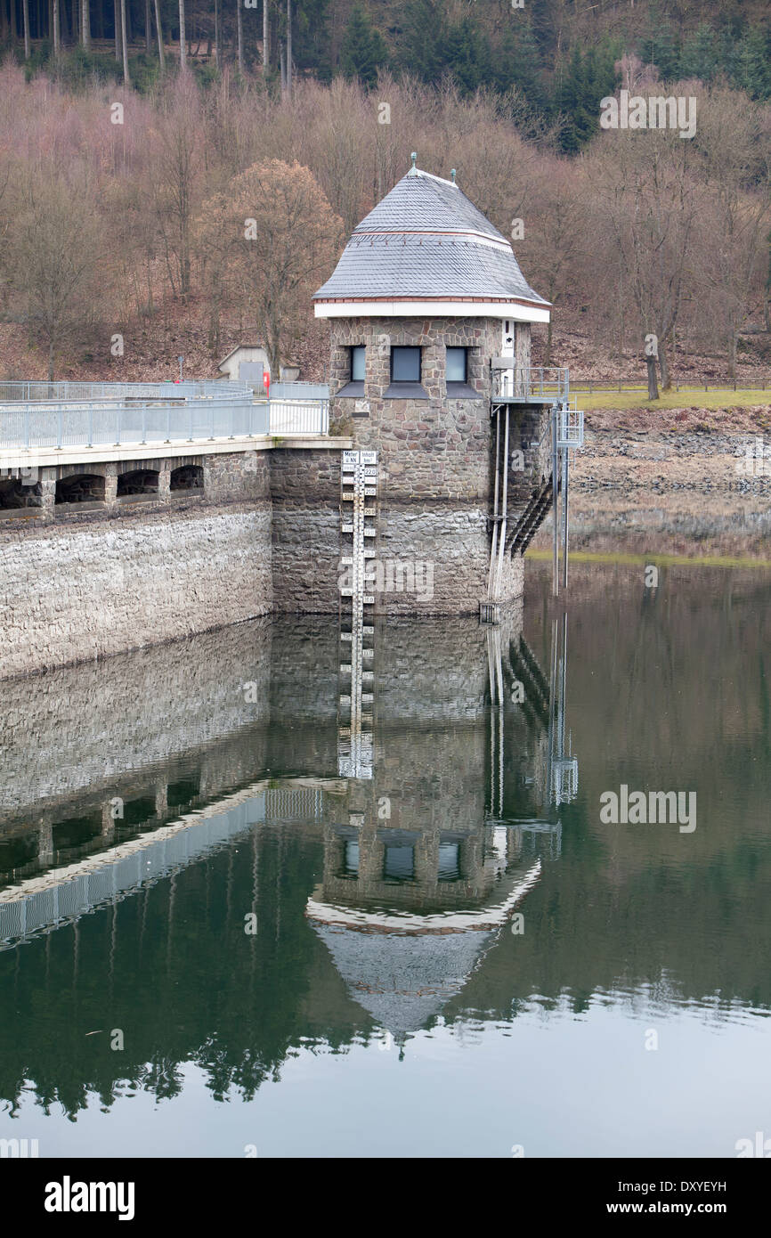 Dam of the Lister Reservoir, Attendorn, Germany, Europe, - Stock Image