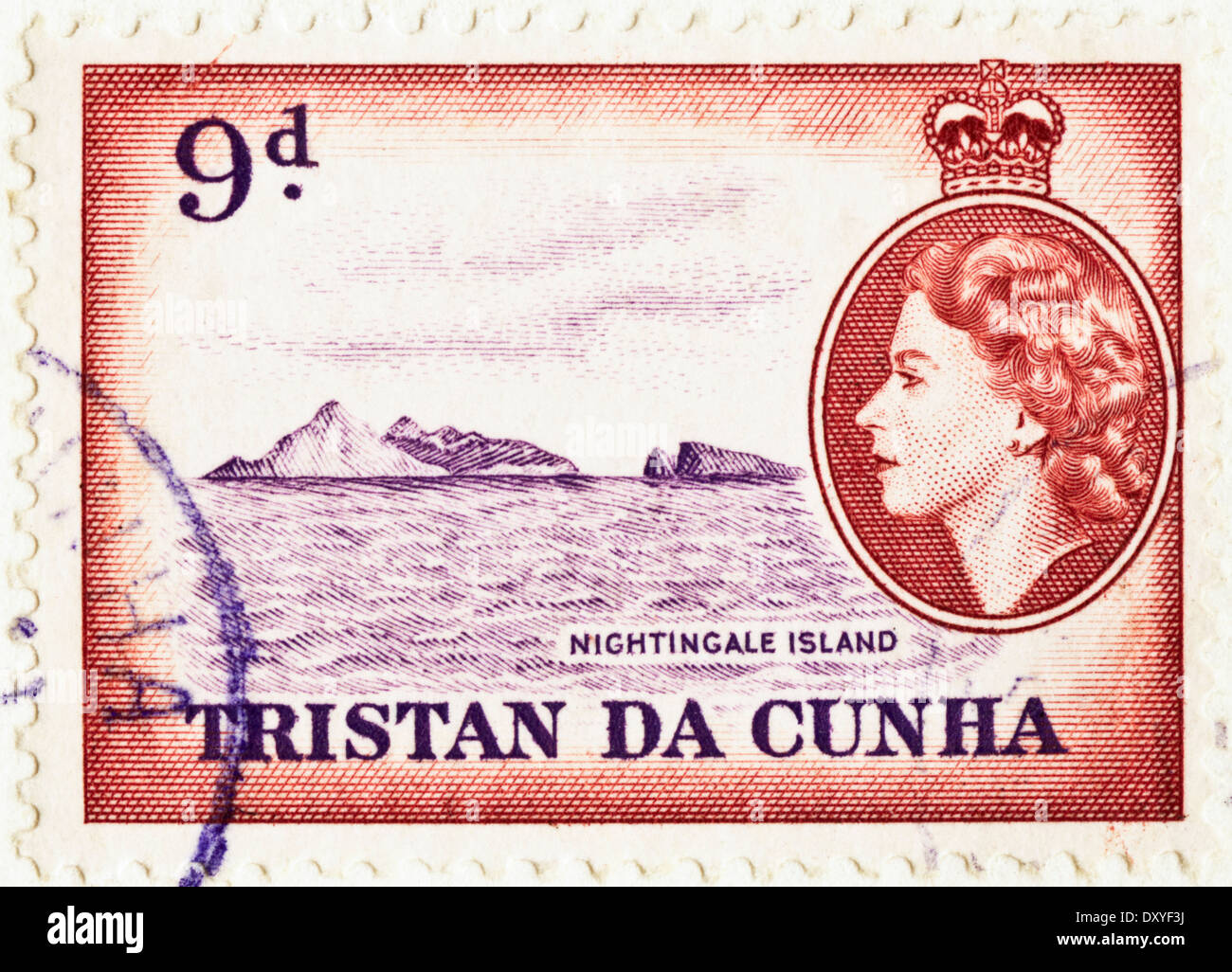 postage stamp 9d Tristan Da Cunha with Queen Elizabeth II featuring Nightingale Island circa 1956 - Stock Image