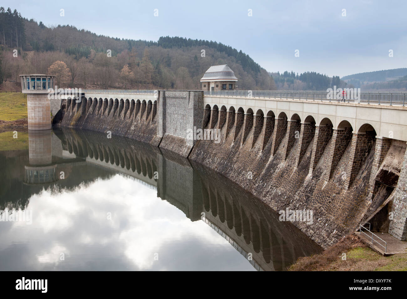 Dam of the Lister Reservoir, turbine tower at Bigge Reservoir hydroelectric power station, Olpe, Germany, Europe, Stock Photo