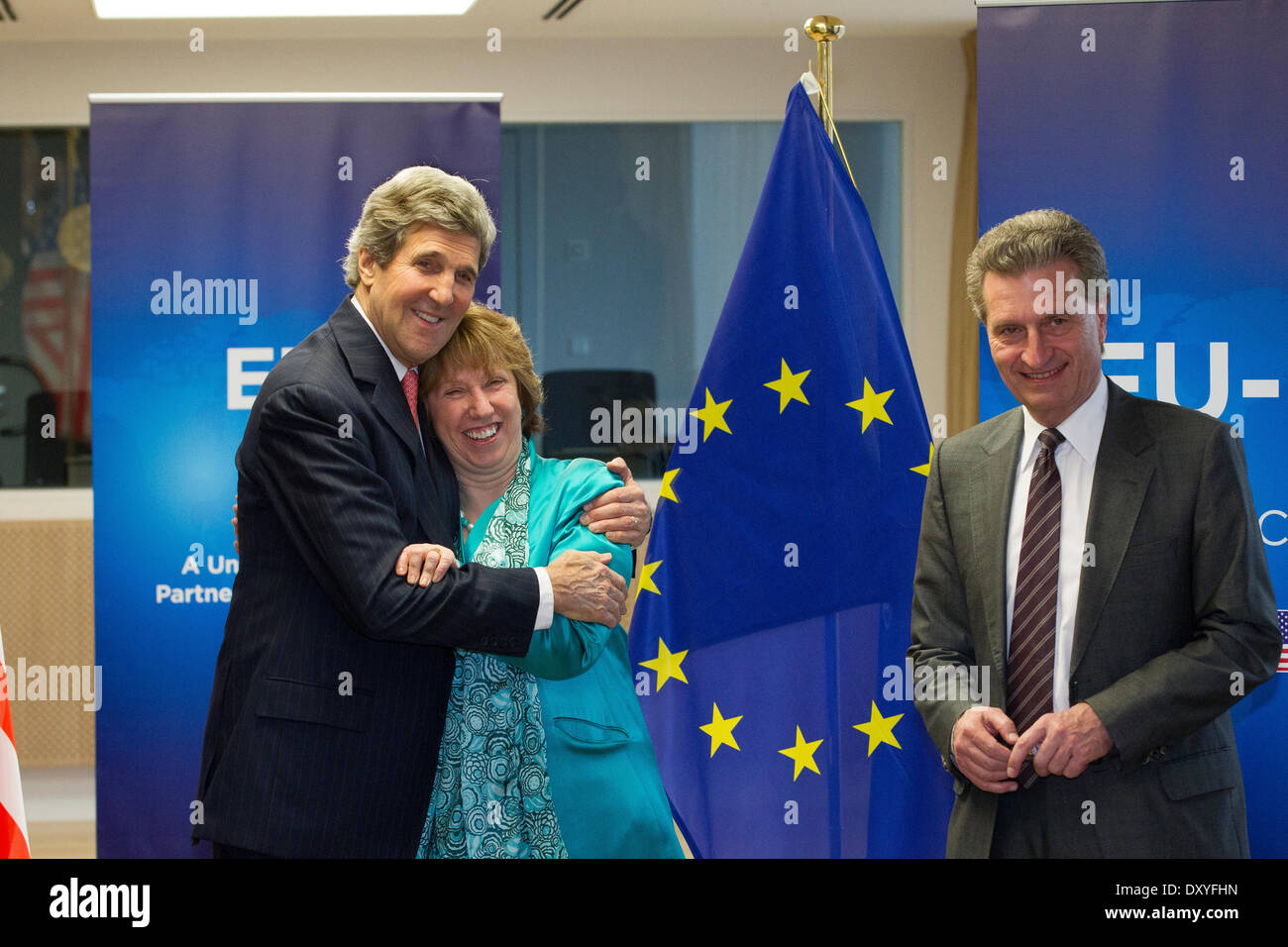 Pictured during his visit to the EU was US Secretary of State John Kerry with EU High Representative Catherine Ashton Stock Photo