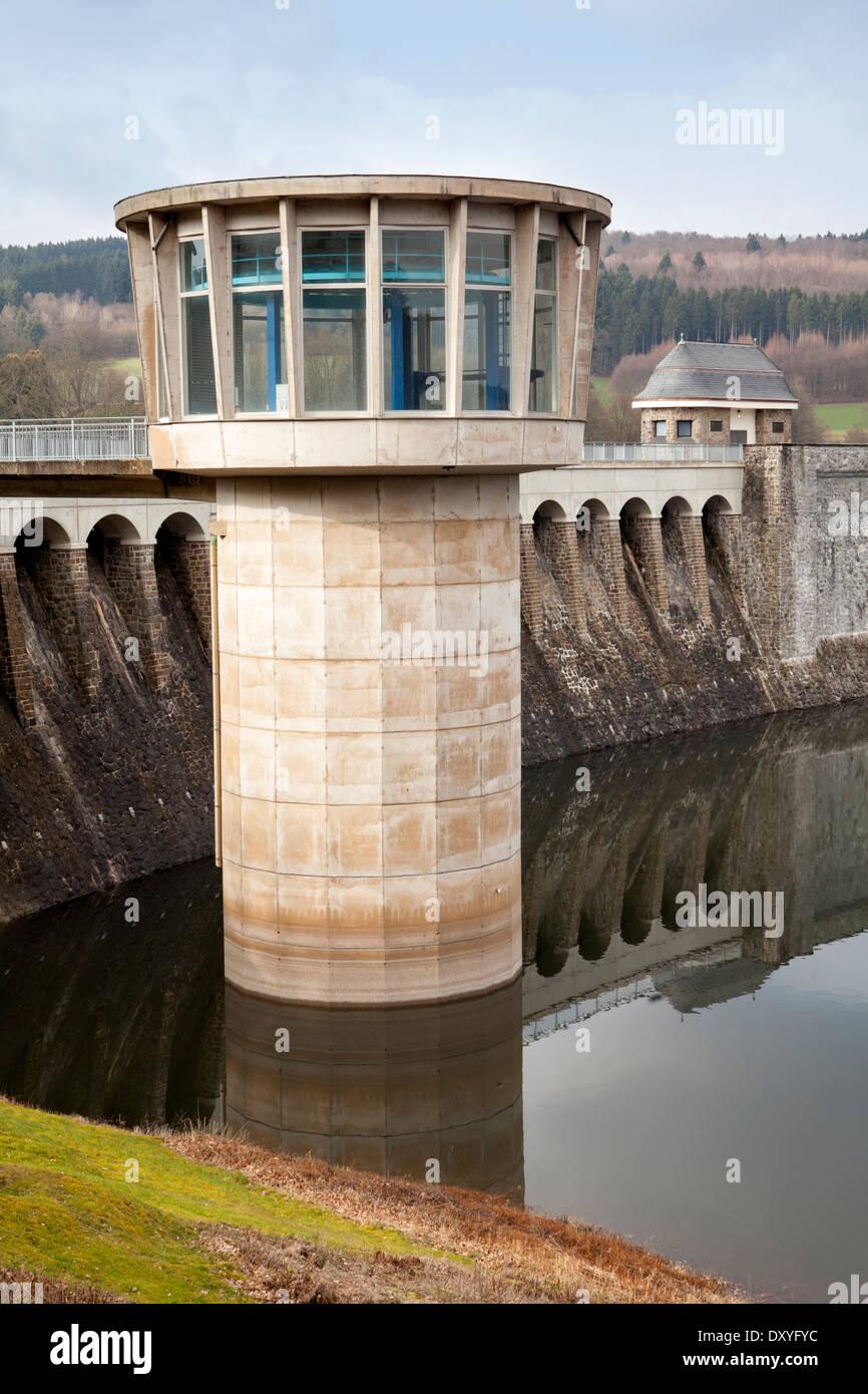 Dam of the Lister Reservoir, turbine tower at Bigge Reservoir hydroelectric power station, Olpe, Germany, Europe, - Stock Image