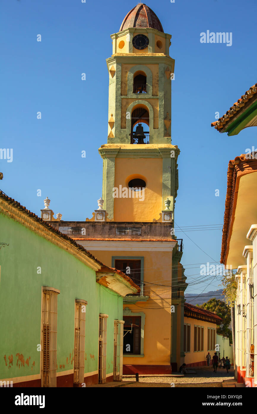 Beautiful Colonial church with belltower in Trinidad, Cuba - Stock Image