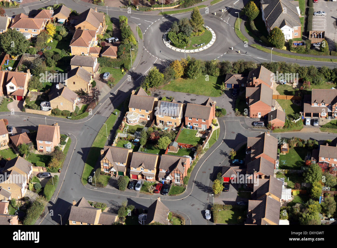 aerial view of modern housing with solar panels on the roof Stock Photo