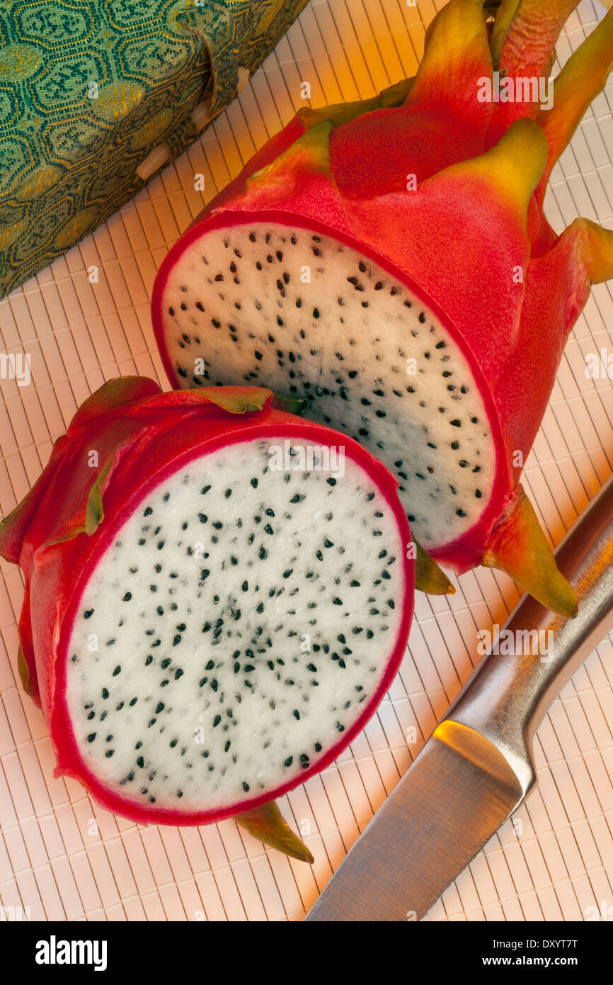 A pitaya or pitahaya - a the fruit of several cactus species - Stock Image