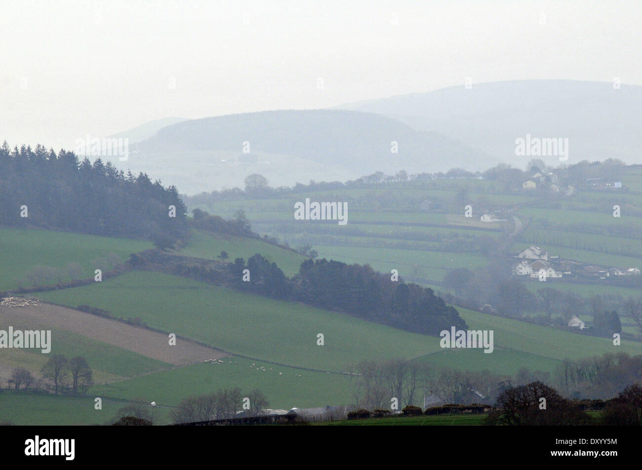 Aberystwyth, Wales, UK. 2nd April, 2014. - Mist and murk conceals the Cambrian Mountains after days of fine sunny Stock Photo