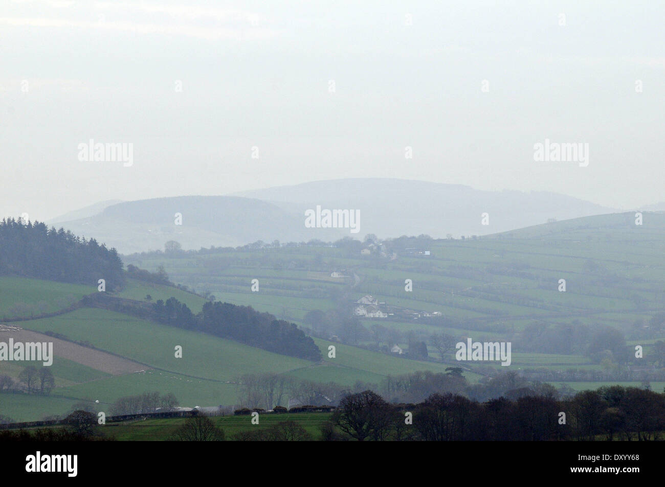 Aberystwyth, Wales, UK. 2nd April, 2014. - Mist and murk conceals the Cambrian Mountains after days of fine sunny weather and blue skies in west Wales - 2 April 2014, Photo Credit: John Gilbey/Alamy Live News. - Stock Image
