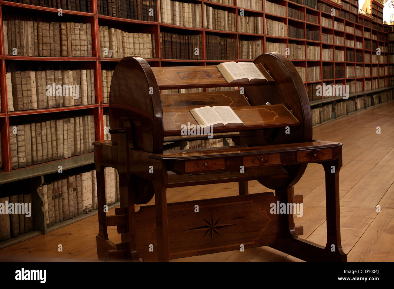 The compilation wheel of Strahov's monastery library in the Czech Republic, it was used to compile texts. - Stock Image