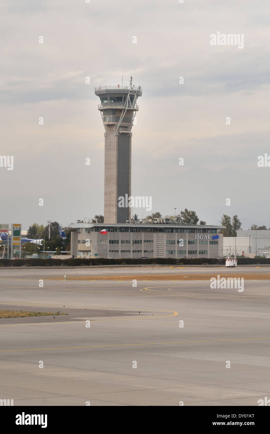 air traffic control tower International airport Santiago de Chile. - Stock Image