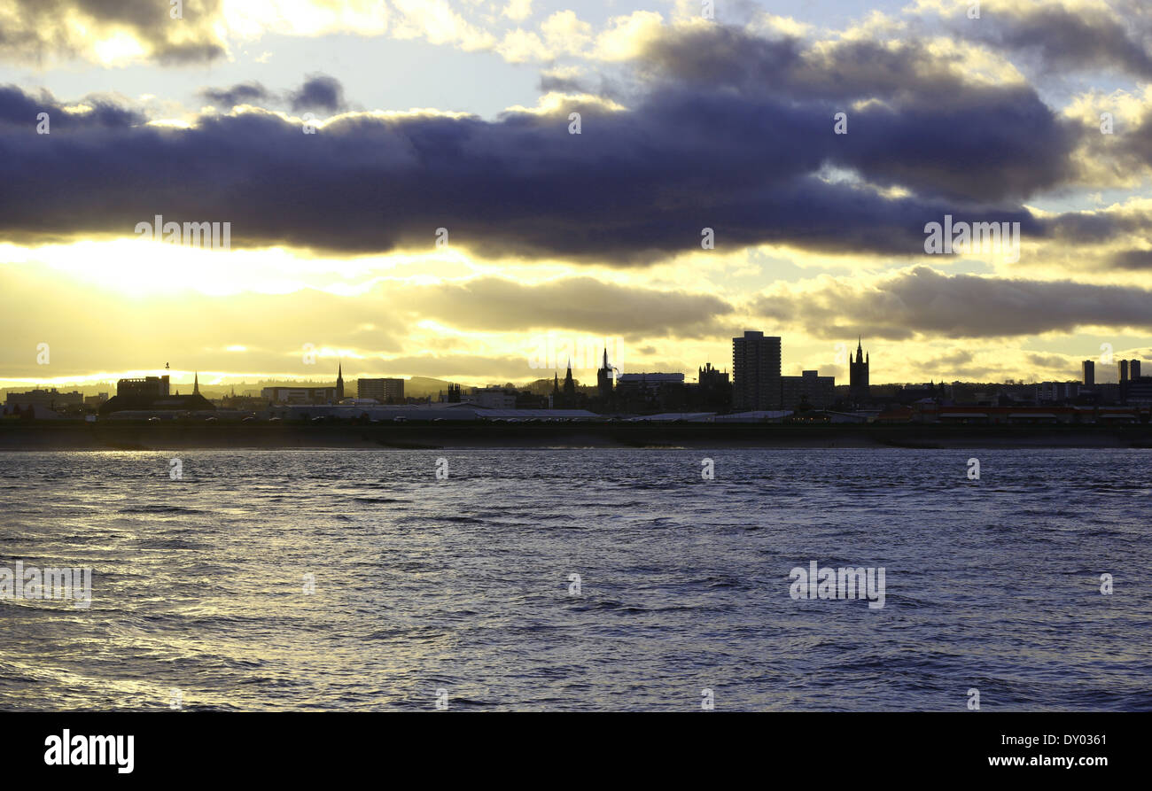 The skyline of the city of Aberdeen, Scotland, UK in the evening showing the north sea and beach area - Stock Image