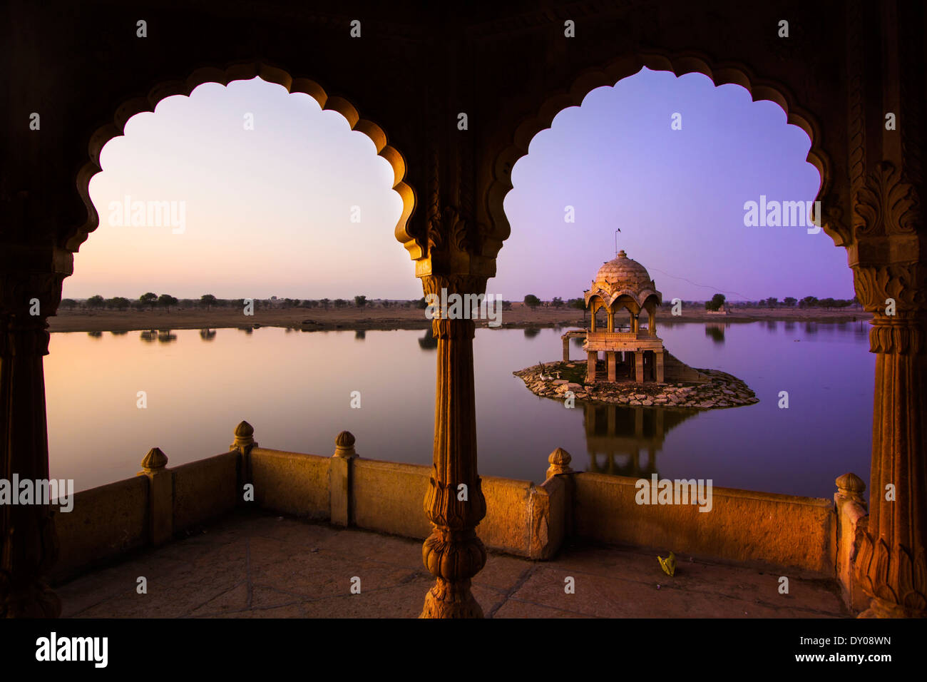 Gadi Sagar (Gadisar) Lake is one of the most important tourist attractions in Jaisalmer, Rajasthan, North India. - Stock Photo