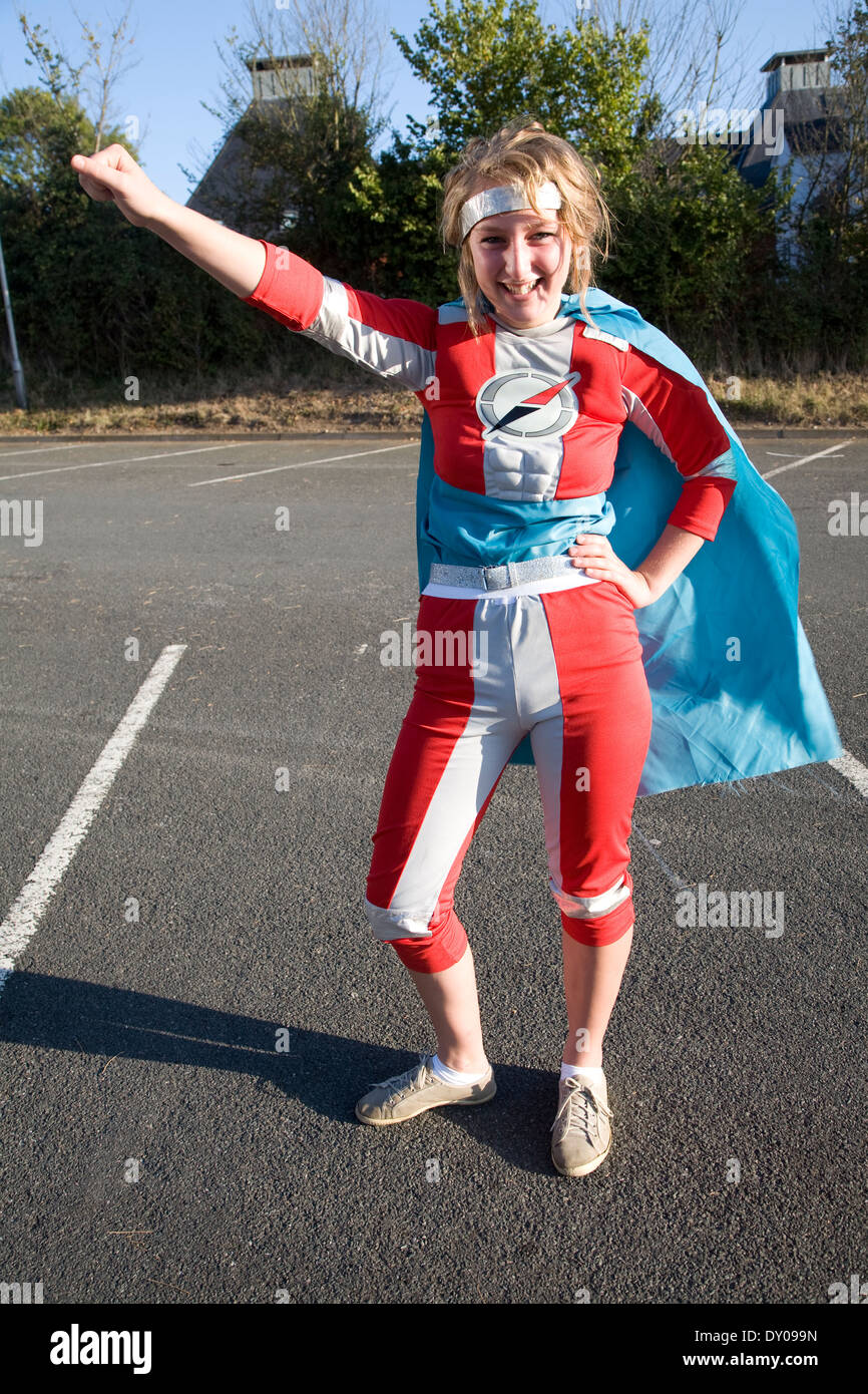 Model released teenager girl dressed as a super hero Stock Photo