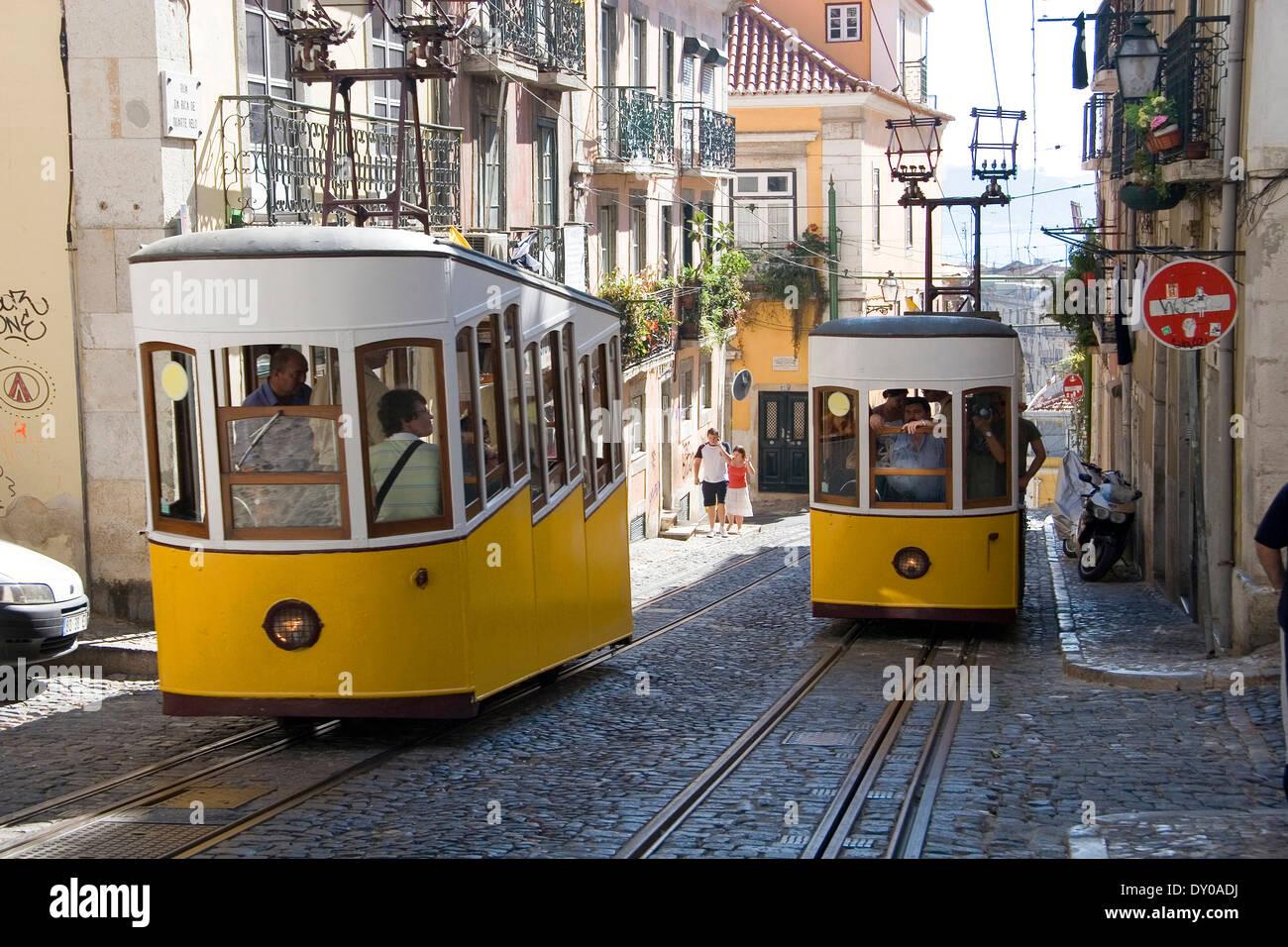 Bica Elevator Streetcar Lisbon Stock Photo 68235038 Alamy