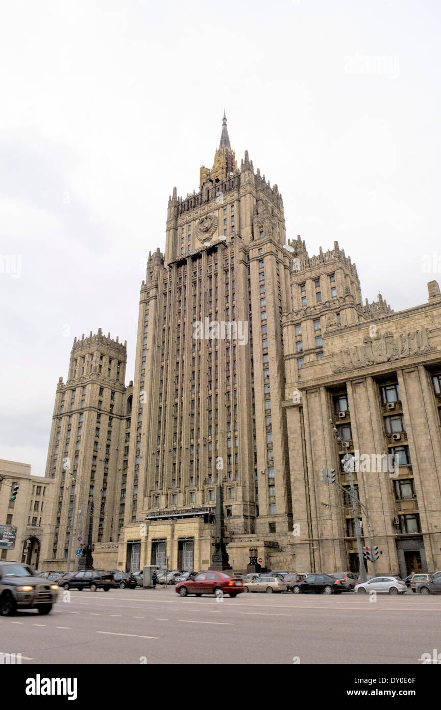 View of the old Stalinist foreign affairs ministry building in Arbatskaya. - Stock Image