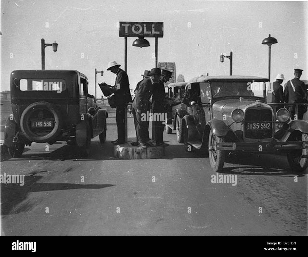 Opening of the Sydney Harbour Bridge; the first cars at the toll bar, 1932 - Stock Image