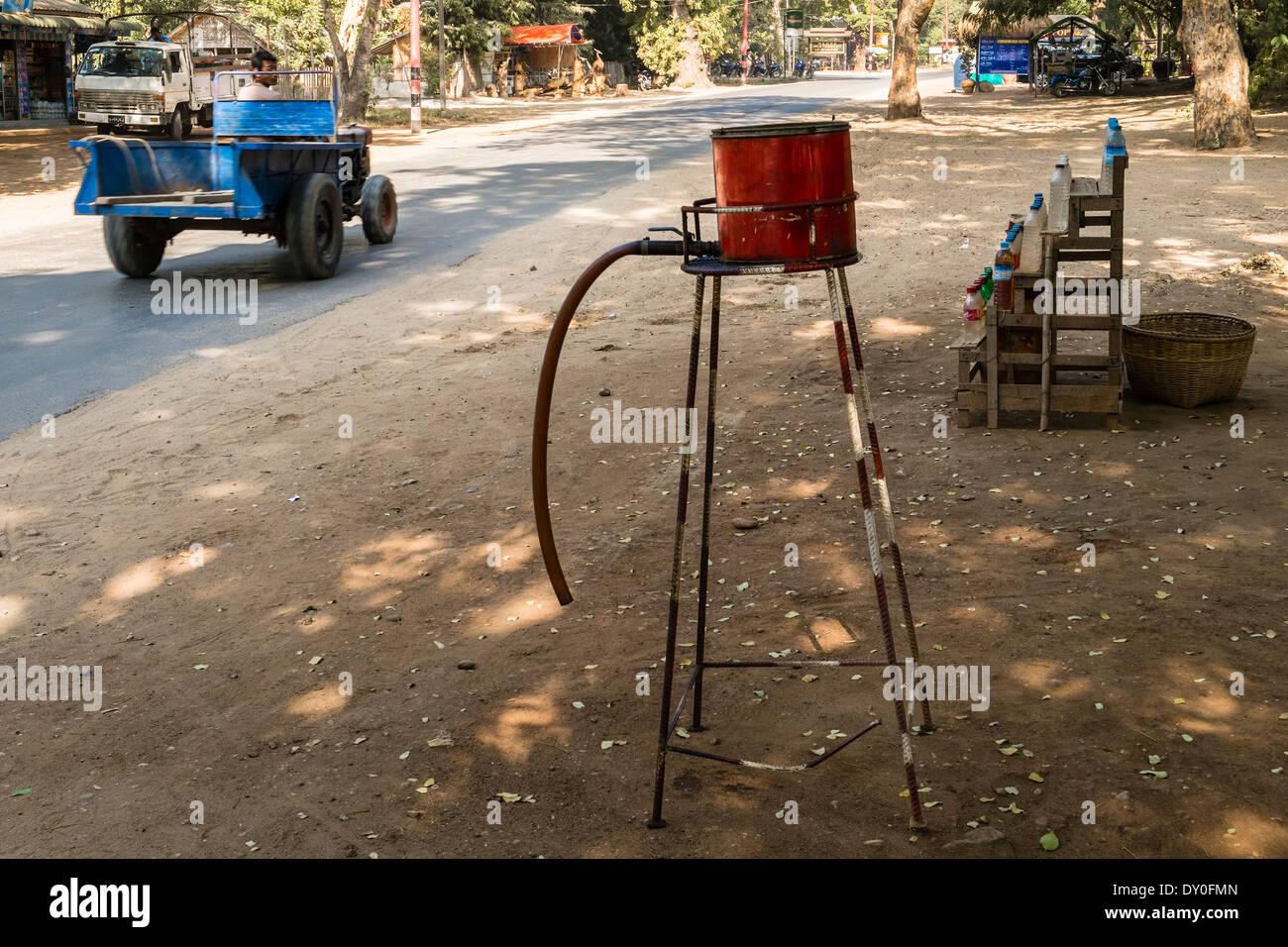 Filling station, Nyaung U, Bagan, Mandalay Division, Myanmar, Asia Stock Photo