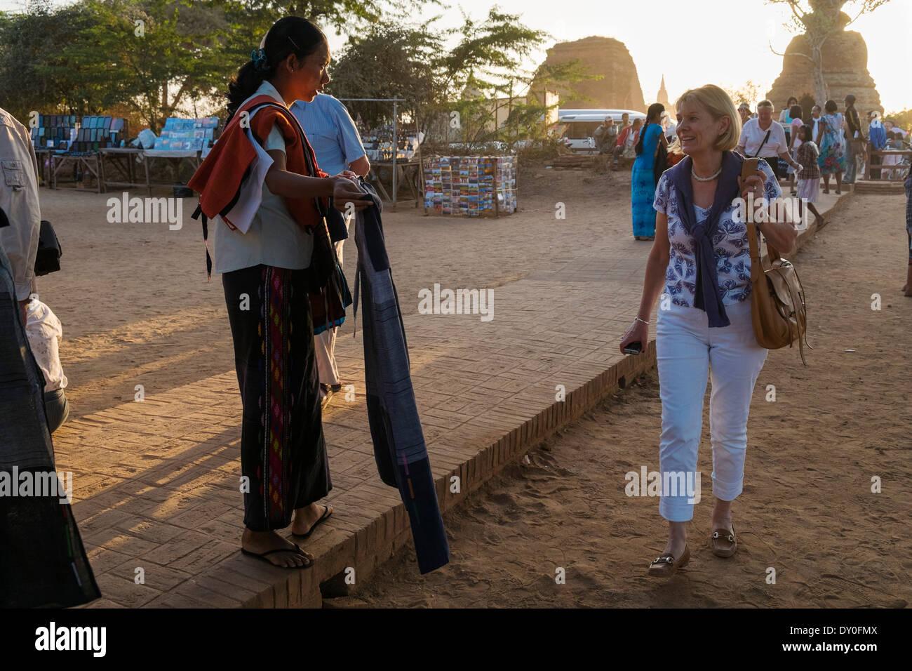 Tourists at Shwesandaw pagoda, Old Bagan, Myanmar, Asia - Stock Image