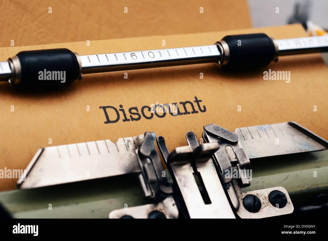 Discount text on typewriter Stock Photo