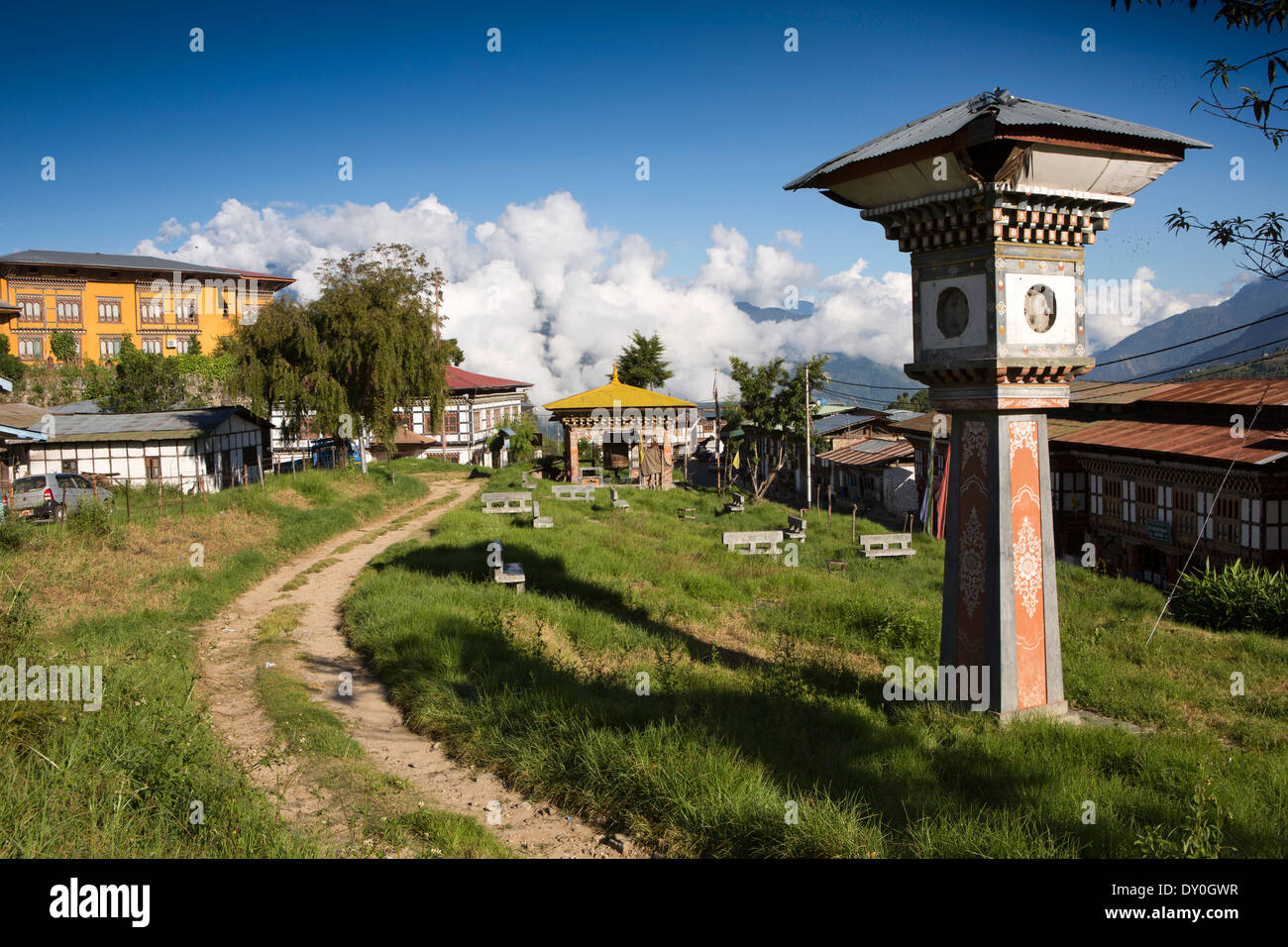 Eastern Bhutan, Mongar, town centre, derelict clock tower in park Stock Photo