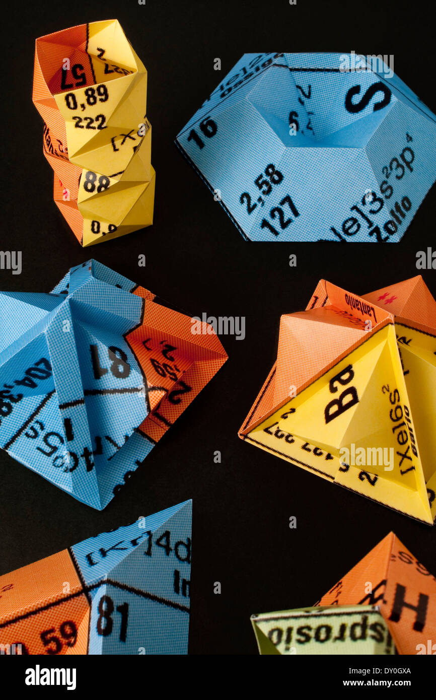 origami made with periodic table  Shot for a cover of a