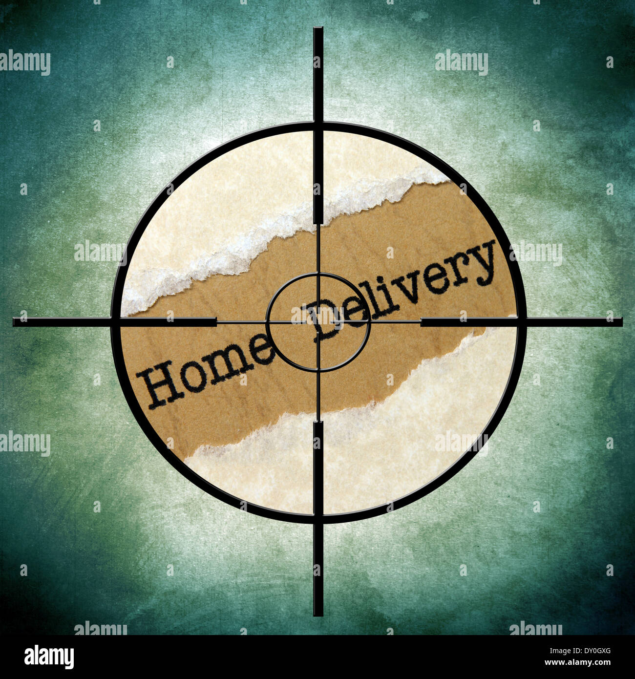 Home delivery text in target Stock Photo