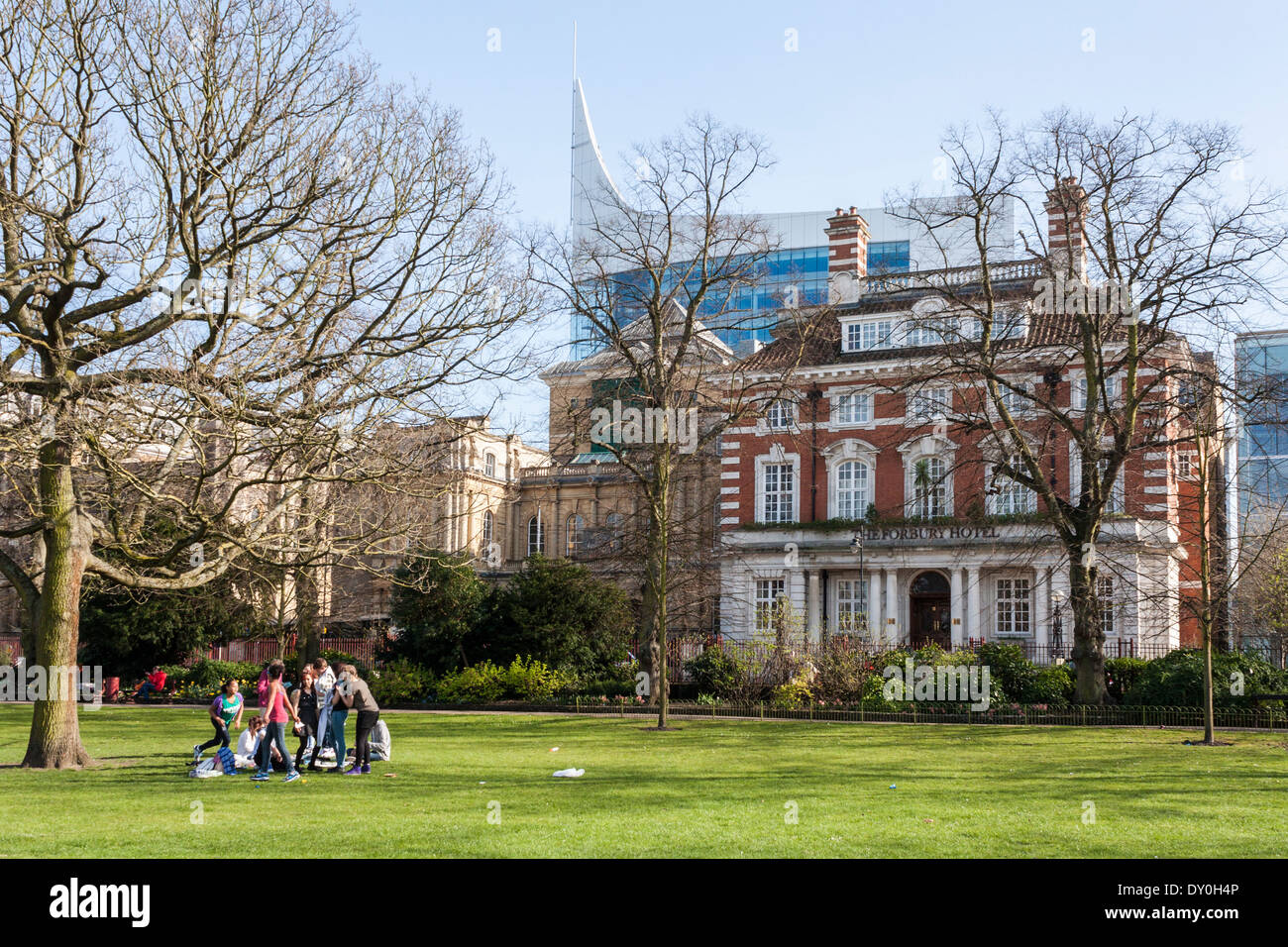Forbury Hotel and the Blade from Forbury Gardens, Reading, Berkshire, England, GB, UK. - Stock Image