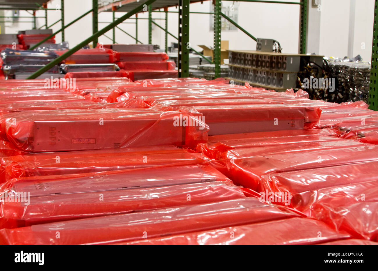 computer technology warehouse stock - Stock Image