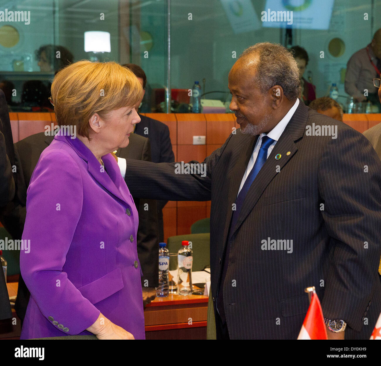 Brussels, Belgium. 2nd April 2014. Pictured during the EU-Africa Summit held in Brussels were, left to right, German Chancellor Angela Merkel with President Ismail Omar Guelleh of Djibouti.  Credit:  Peter Cavanagh/Alamy Live News - Stock Image