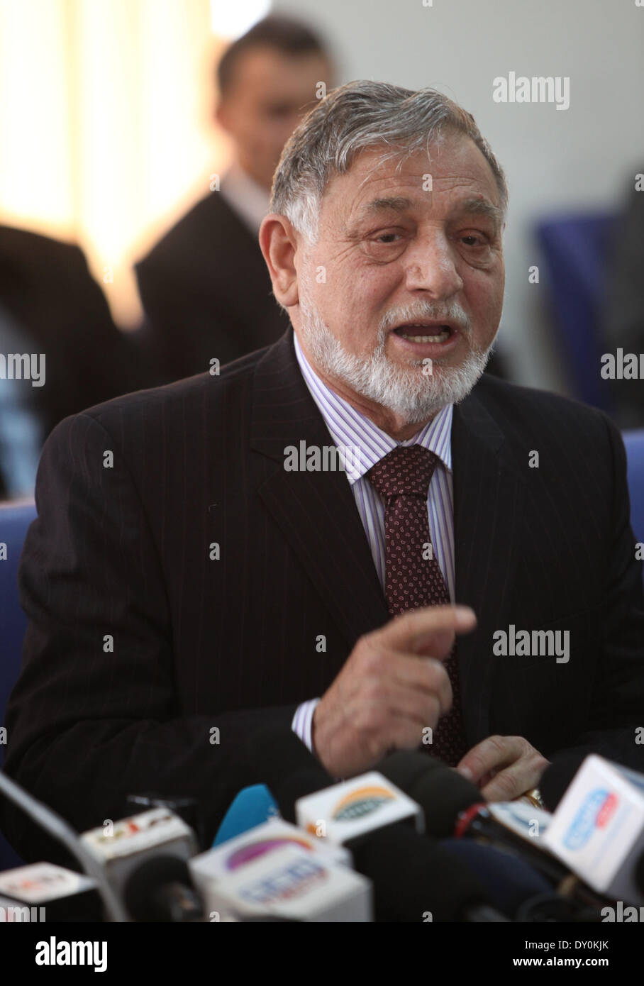 Kabul, Afghanistan. 2nd Apr, 2014. Independent Elections Commission (IEC) chief Ahmad Yousuf Nuristani speaks during a press conference in Kabul, Afghanistan, on April 2, 2014. More than 20 million eligible Afghans will vote for the new president and new provincial assembly members for the next five years, according to the Independent Election Commission (IEC) officials. © Ahmad Massoud/Xinhua/Alamy Live News - Stock Image
