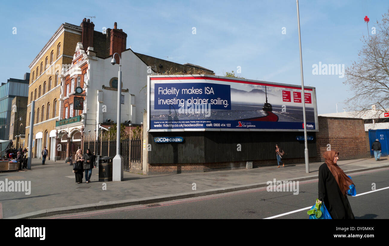 Fidelity ISA Investment billboard on Whitechapel Road in London   KATHY DEWITT - Stock Image