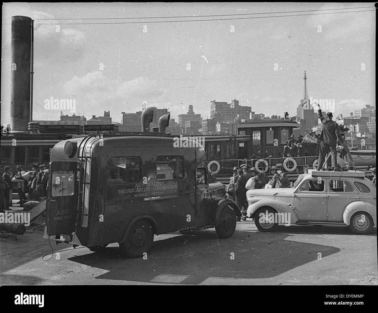 A.B.C. truck recording soldiers off to war, Darling Harbour, May 1940 - Stock Image