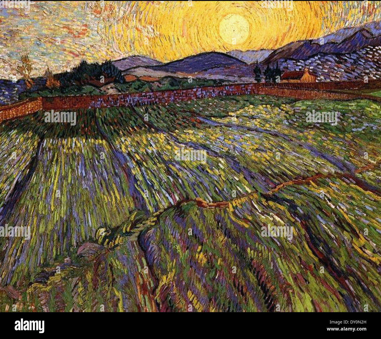 Vincent Van Gogh Wheat Field with Rising Sun - Stock Image