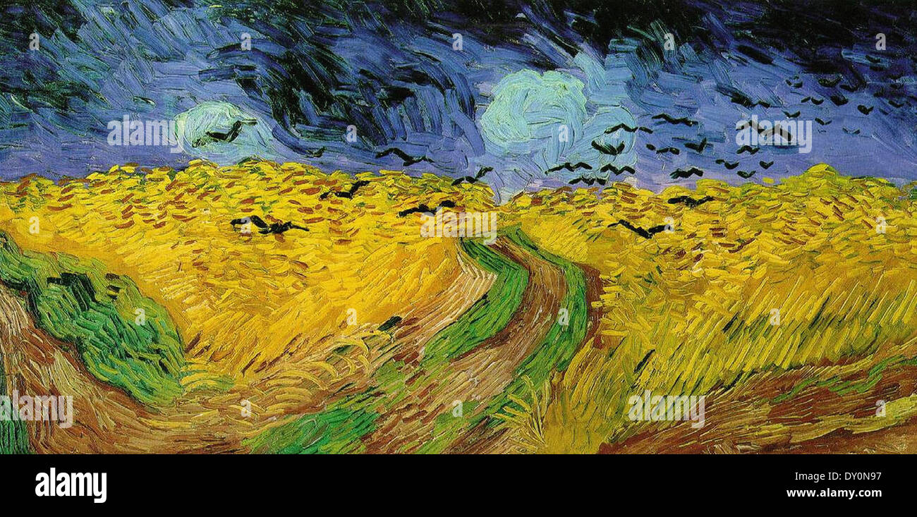 Vincent Van Gogh Wheat Field with Crows - Stock Image