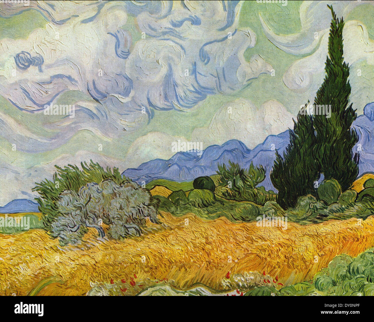 Vincent van Gogh Wheat Field with Cypresses 2 - Stock Image