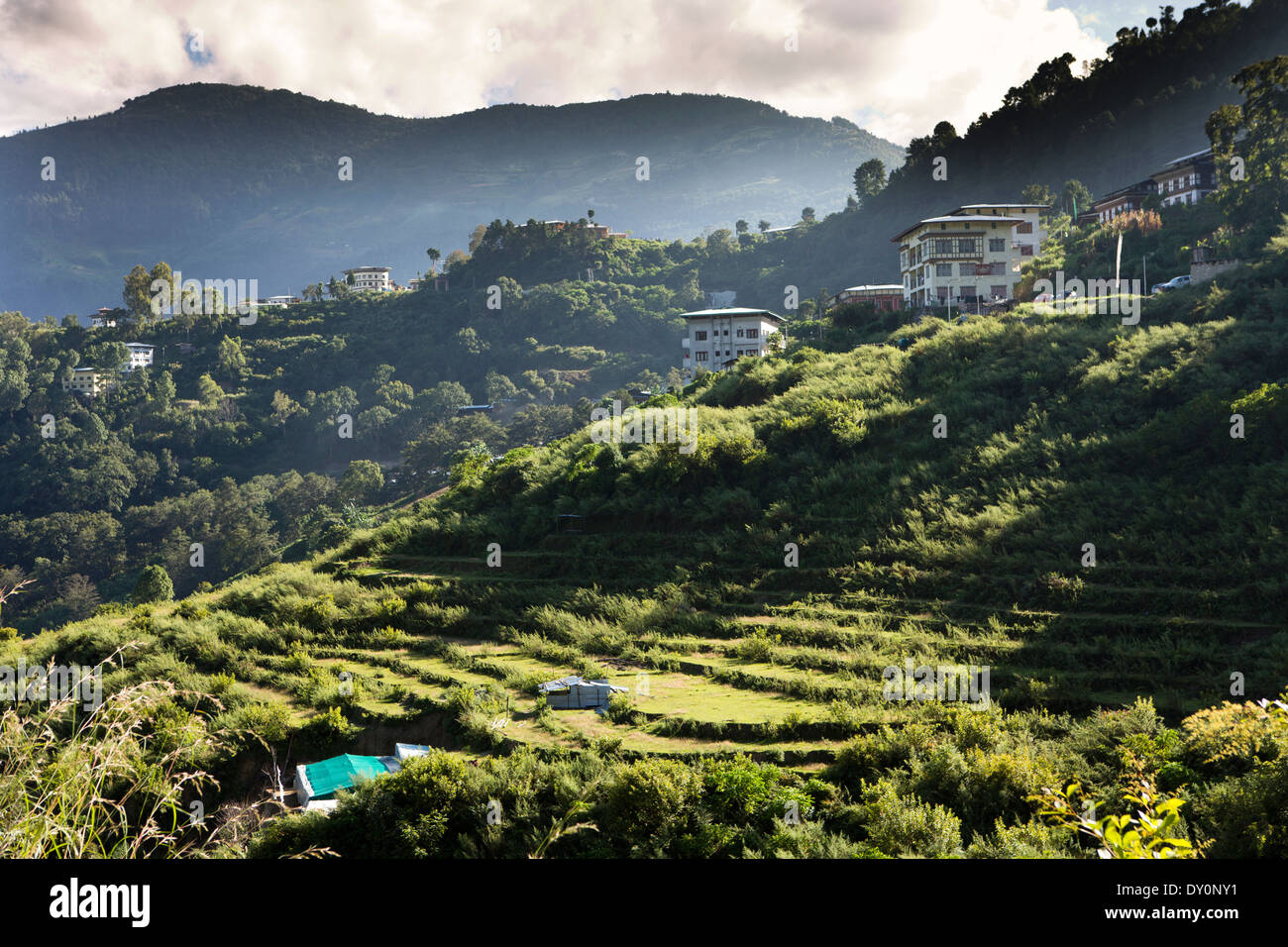 Bhutan, houses in Lhuentse Valley north of Mongar panoramic - Stock Image
