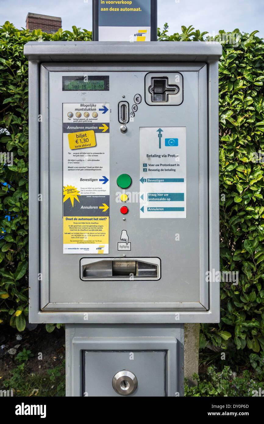 Automated ticket machine at tramstop / busstop of the Flemish transport company  / Vlaamse Vervoersmaatschappij De Lijn, Belgium - Stock Image
