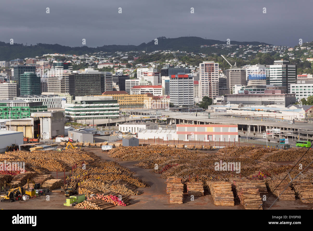 Wellington, New Zealand   Downtown Skyscrapers And Office Buildings With  Lumber At The Port Ready For Export