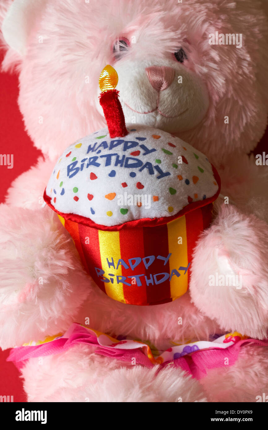 Pink Teddy Bear Holding Happy Birthday Cake With Lit Candle