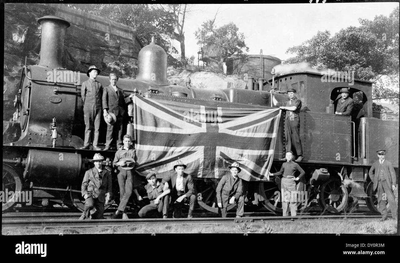 30 class tank engine and schoolboy rail strikebreakers with Union Jack on the engine, August 1917, by Sam Hood - Stock Image