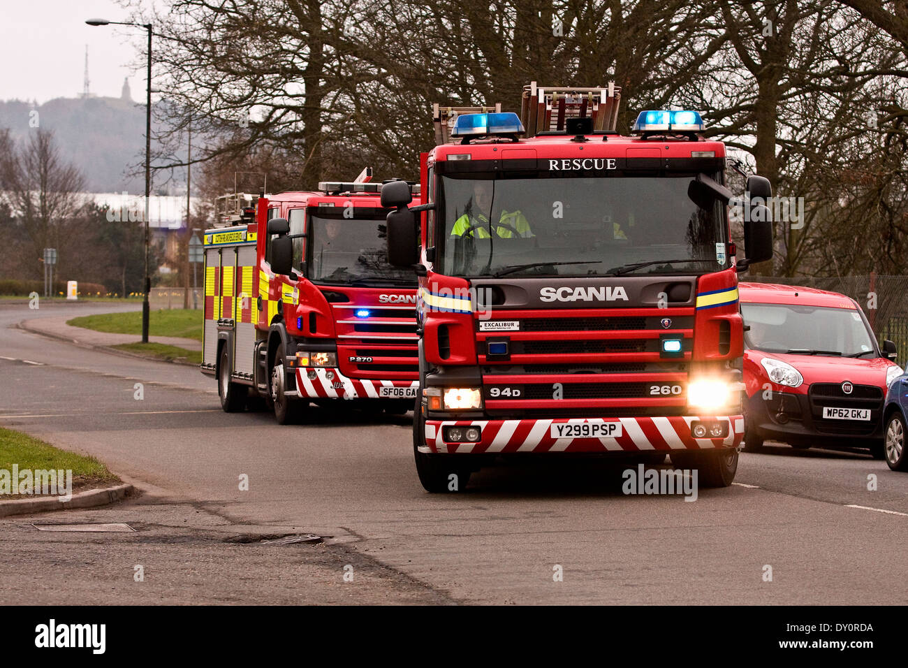Fire Engine Emergency Blue Lights Uk Stock Photos Fire Engine
